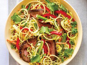 Squash Noodle Ramen and Flank Steak Bowl